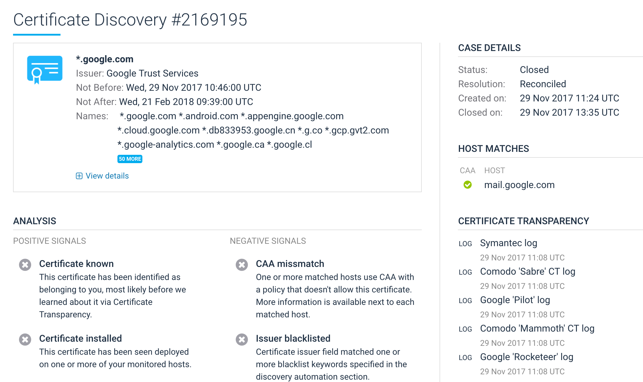 Hardenize certificate transparency monitoring hardenize blog actually even if you are not using caa we support custom matching rules that can be used to whitelist and blacklist issuers this is a great way to check 1betcityfo Choice Image