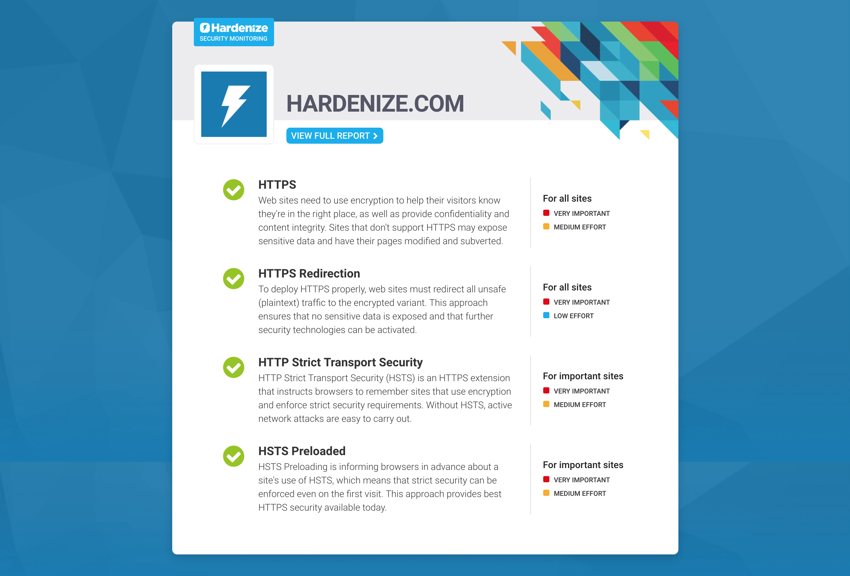Hardenize Security Badge Blog Data Technologies To Go With The We Now Also Have A Special Report Summary That Displays Only Four Main Configuration Elements Without Clutter Hope This